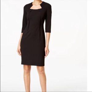 Calvin Klein Petite Notched Scuba Sheath Dress